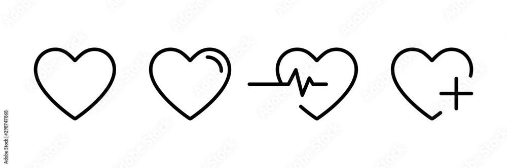 Fototapeta Heart icon in linear design isolated vector signs. Medicine concept. Medical health care. Love passion concept. Heart shape. Romantic design.