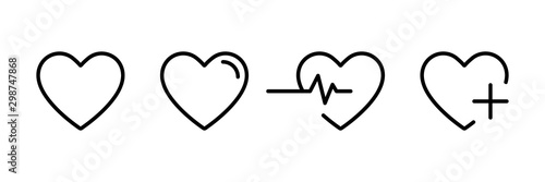 Heart icon in linear design isolated vector signs. Medicine concept. Medical health care. Love passion concept. Heart shape. Romantic design.