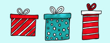 Watercolor Holiday Presents Il...