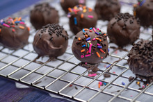 Chocolate Donut Holes With Sprinkles