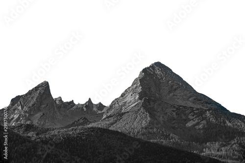 Obraz na plátně  Isolated high mountain peak Watzmann in Germany Black and white