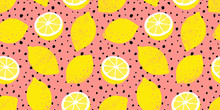 Vector Seamless Lemon Pattern With Black Dots. Trendy Summer Background.