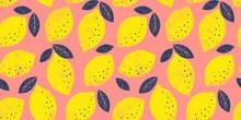 Vector Lemon Seamless Pattern. Trendy Bright Summer Background.