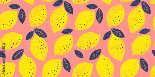 fototapeta na lodówkę Vector lemon seamless pattern. Trendy bright summer background.