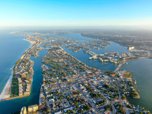Aerial View Of St. Petersburg During Sunrise, Florida, USA. Downtown City Skyline On The Bay.