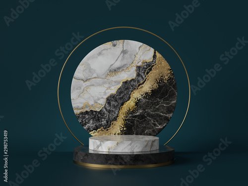 Obraz na plátně  3d render, abstract green background with black white marble texture, gold foil
