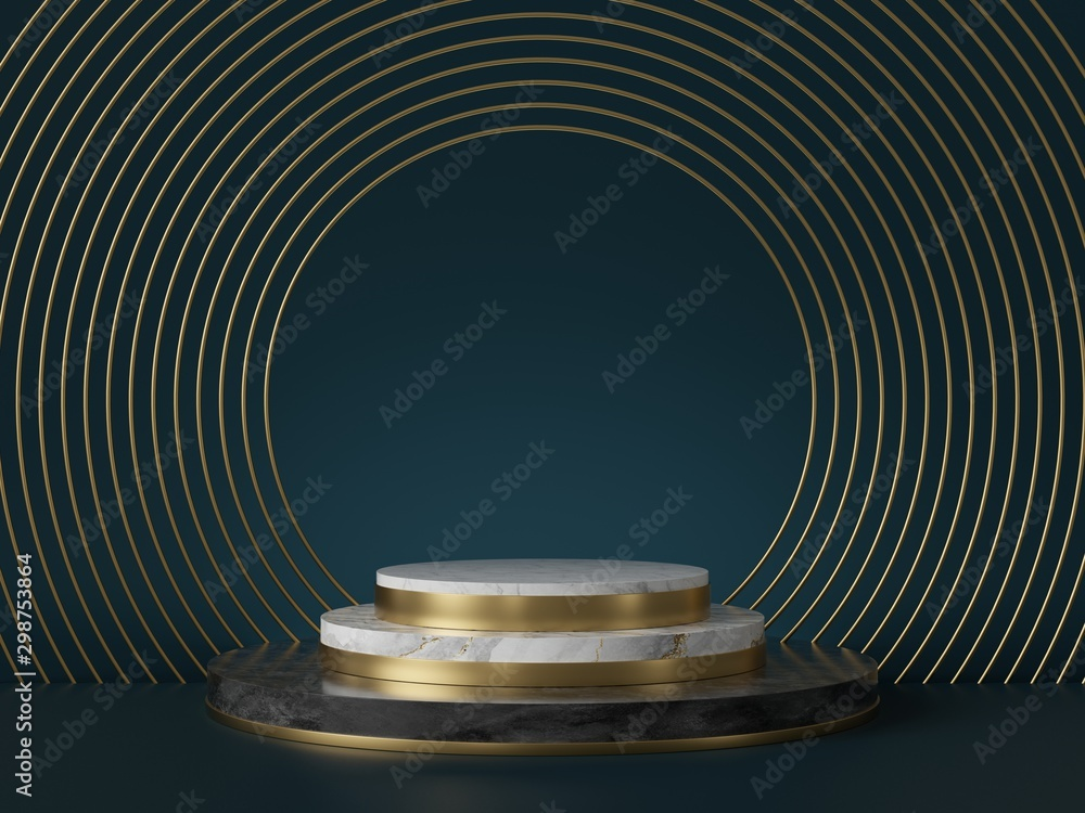 Fototapety, obrazy: 3d render, abstract art deco green background, round golden blank frames, marble texture. Cylinder steps pedestal, podium, showcase stand. Luxury minimal mockup