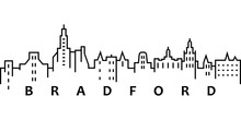 Bradford Cityscape Illustration. Simple Line, Outline Vector Of City Landscape Icons For Ui And Ux, Website Or Mobile Application On White Background