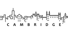 Cambridge Cityscape Illustration. Simple Line, Outline Vector Of City Landscape Icons For Ui And Ux, Website Or Mobile Application On White Background