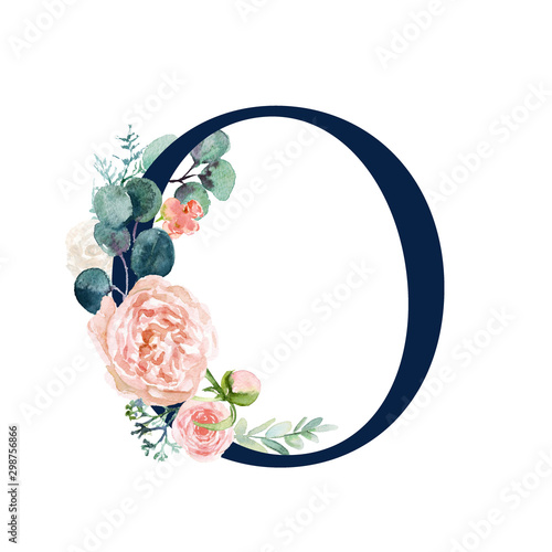 Pinturas sobre lienzo  Floral Alphabet - navy color letter O with flowers bouquet composition