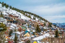 Colorful Cabins On A Mountain With Snow During Winter Season In Park City Utah