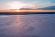Sunrise over pink salt lake Crosbie in Victoria, Australia