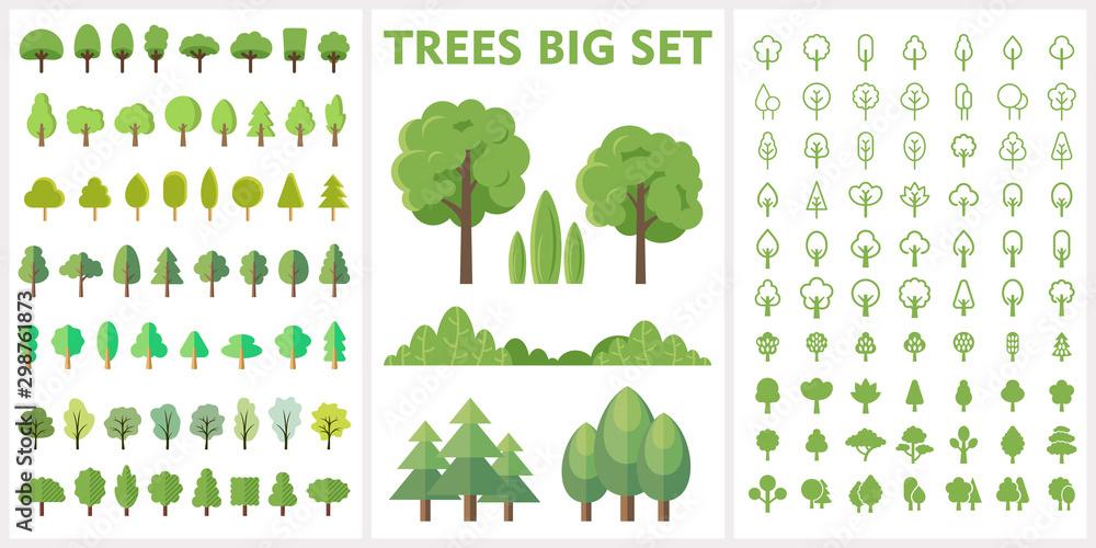 Zestaw drzew leśnych i parkowych do projektowania przyrody <span>plik: #298761873 | autor: kurdanfell</span>