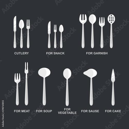 Vászonkép Cutlery set vector illustration for food design.