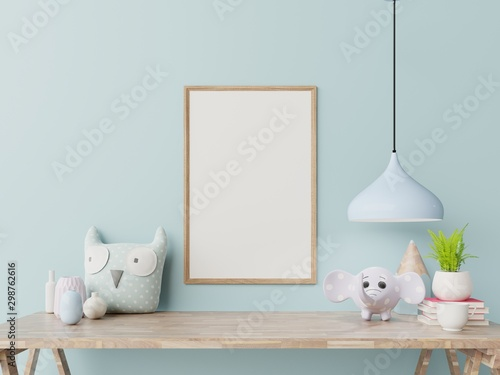 Mock up posters in child room interior. - 298762616