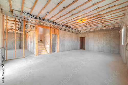 Interior of new home room under construction Canvas Print