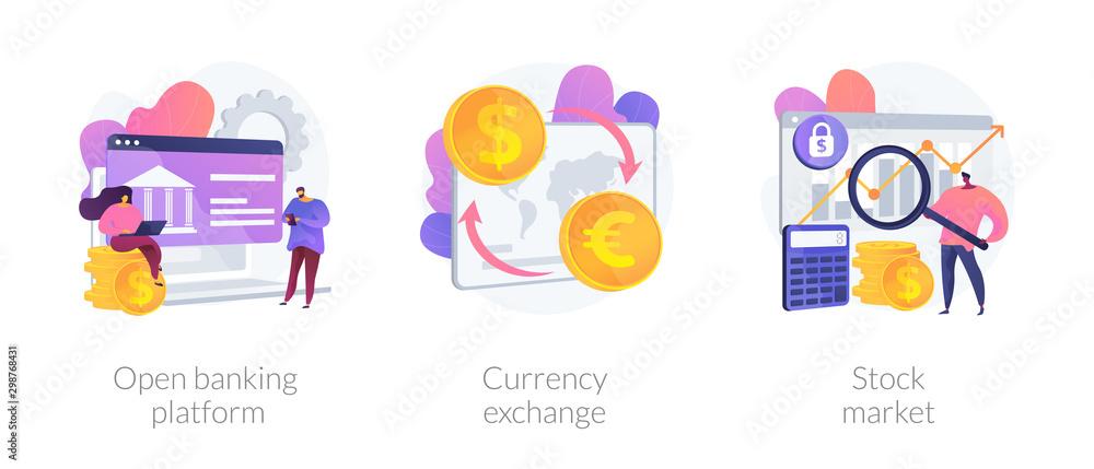 Fototapeta Finances management service, online money transaction, stocks trading icons set. Open banking platform, currency exchange, stock market metaphors. Vector isolated concept metaphor illustrations