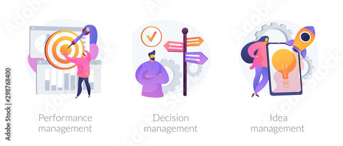 Workflow optimization, business direction choosing, startup launch icons set Canvas-taulu