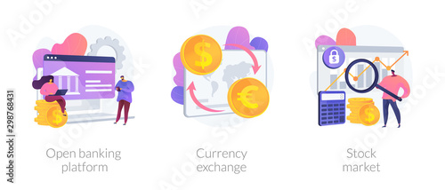 Obraz Finances management service, online money transaction, stocks trading icons set. Open banking platform, currency exchange, stock market metaphors. Vector isolated concept metaphor illustrations - fototapety do salonu