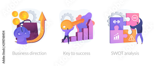 Carta da parati Profit growth, career success achievement, strengths and weaknesses assessment icons set