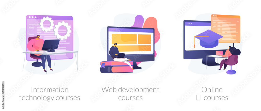 Fototapety, obrazy: Computer science, internet education, remote studying icons set. Information technology courses, web development courses, online it courses metaphors. Vector isolated concept metaphor illustrations