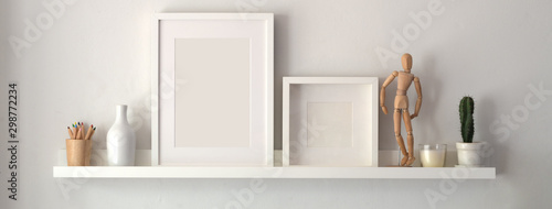 Photo Mock up frame and decorations on shelf with white wall