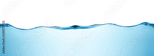 Blue water splashs wave surface with bubbles of air on white background Fototapet