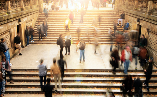 Overhead view of people climbing stairs in Central Park, New York City with brig Wallpaper Mural