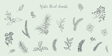 Vector Christmas Illustration Collection Of Floral Fir Tree Branches On Grey Craft Background. Winter Design. Merry Christmas And Happy New Year!