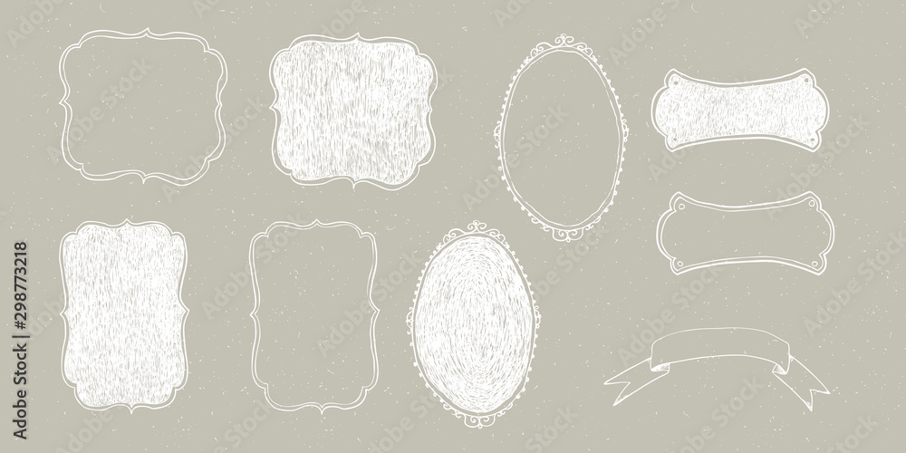 Fototapety, obrazy: Vector Christmas illustration collection of frames on beige / grey snowy craft background. Winter design. Merry Christmas and Happy New Year!