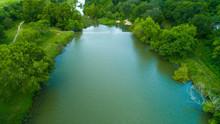 Flowing Texas Creek Aerial-Hill Country Creek