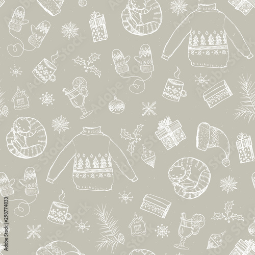 Tapety Beżowe seamless-christmas-pattern-with-white-sweaters-cat-gifts-mulled-wine-mug-gloves-hat-christmas-tree-toys-snowflakes-on-beige-background-graphic-illustration-christmas-props