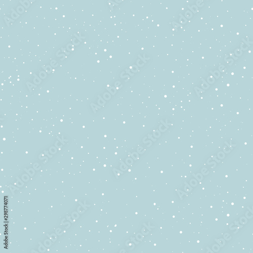 Abstract hipster Christmas fashion design print seamless pattern - starry / snowy day, white dots on blue background.