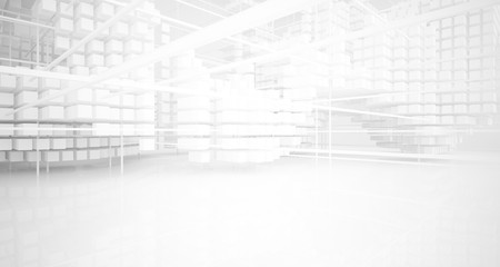 Abstract white architectural interior from an array of white cubes with large windows. 3D illustration and rendering.
