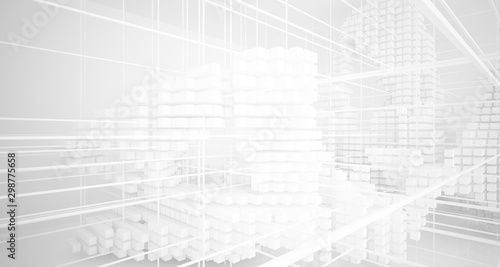 Fototapeta Abstract white architectural interior from an array of white cubes with large windows. 3D illustration and rendering. obraz