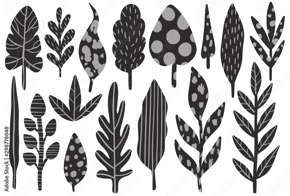 Fototapety, obrazy: Nature plant abstract naive style.Botanical hand drawing.