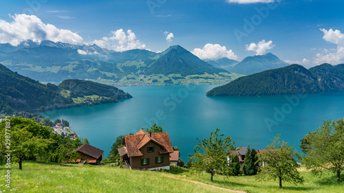 Switzerland, Panoramic view on green Alps and lake Lucerne near Vitznau.