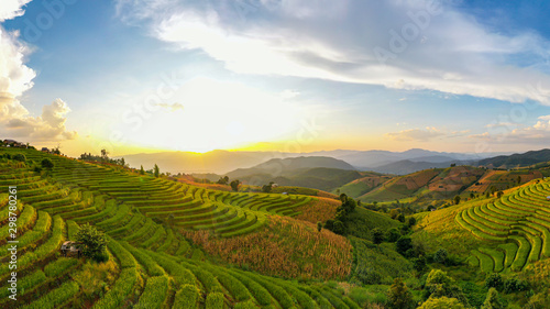 Foto auf Gartenposter Reisfelder Panorama Aerial view Sunset scene of Pa Bong Piang terraced rice fields, Mae Chaem, Chiang Mai Thailand