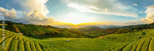 Spoed Fotobehang Rijstvelden Panorama Aerial view Sunset scene of Pa Bong Piang terraced rice fields, Mae Chaem, Chiang Mai Thailand