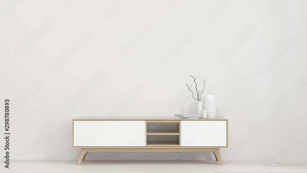 Fototapety, obrazy: wall mockup and TV cabinet in front of the empty clean wall 3d rendering modern home design,Minimal mock up element for graphic design wall mock up