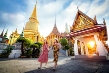 Asian Girl Walk In Wat Phra Kaew And Grand Palace Travel In Bangkok City