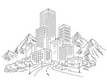 City Mountains Graphic Black W...