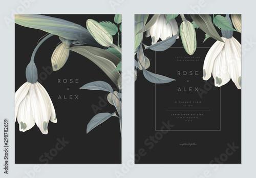 Fototapeta Floral wedding invitation card template design, snowdrop, tulip and leaves on dark grey obraz