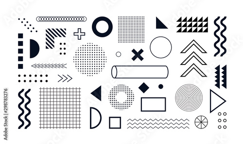 Mega set of memphis design elements, template for your project Canvas Print