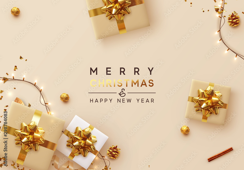 Fototapeta Christmas Background. Xmas design of sparkling lights garland, with realistic gifts box, glitter gold confetti. Happy New Year poster, greeting card, banner. Design Flat top view. Holiday composition