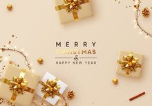 Christmas Background. Xmas Design Of Sparkling Lights Garland, With Realistic Gifts Box, Glitter Gold Confetti. Happy New Year Poster, Greeting Card, Banner. Design Flat Top View. Holiday Composition