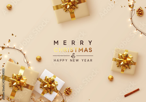 Christmas Background. Xmas design of sparkling lights garland, with realistic gifts box, glitter gold confetti. Happy New Year poster, greeting card, banner. Design Flat top view. Holiday composition - 298784083