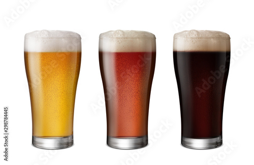 Fotografiet Three Glasses of Light Beer and Dark Beer isolate white background with copy spa