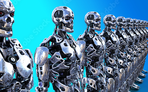 Photo 3d Illustration or Models of many Robotic Cyborg Servants with Clipping Path