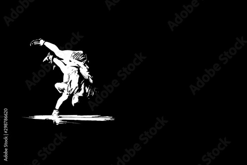 Unrecognizable sambo wrestlers demonstrating hand throwing technique Canvas Print